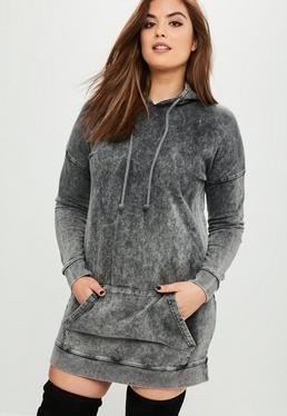 Curve Gray Washed Hoody Dress