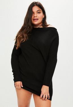 Vestido jersey talla grande con hombros descubiertos en negro
