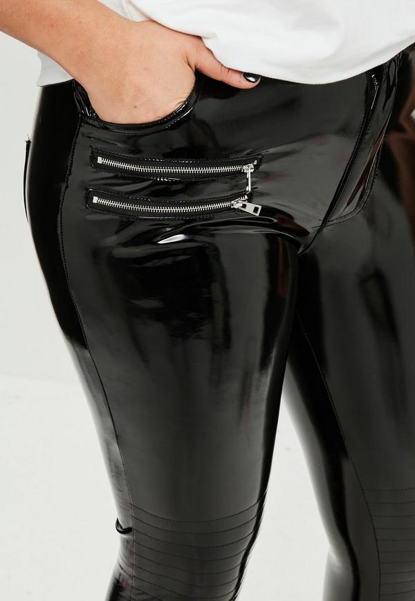 Curve Black Vinyl Biker Trouser Missguided