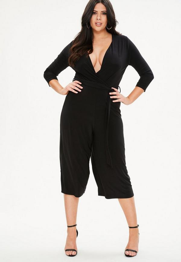 Curve Black Slinky Wrap Jumpsuit by Missguided