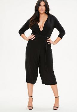 Curve Black Slinky Wrap Jumpsuit