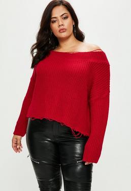 Czerwony sweter na jedno ramię Plus Size