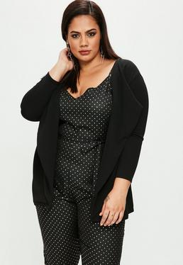 Plus Size Black Waterfall Blazer
