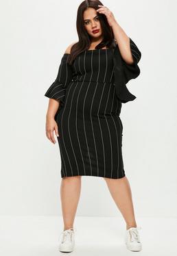 Plus Size Black Pinstripe Dress