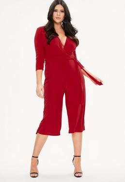 Curve Red Slinky Wrap Jumpsuit