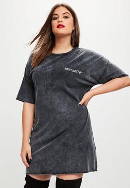 Curve Black Washed Corset Back T-Shirt Dress