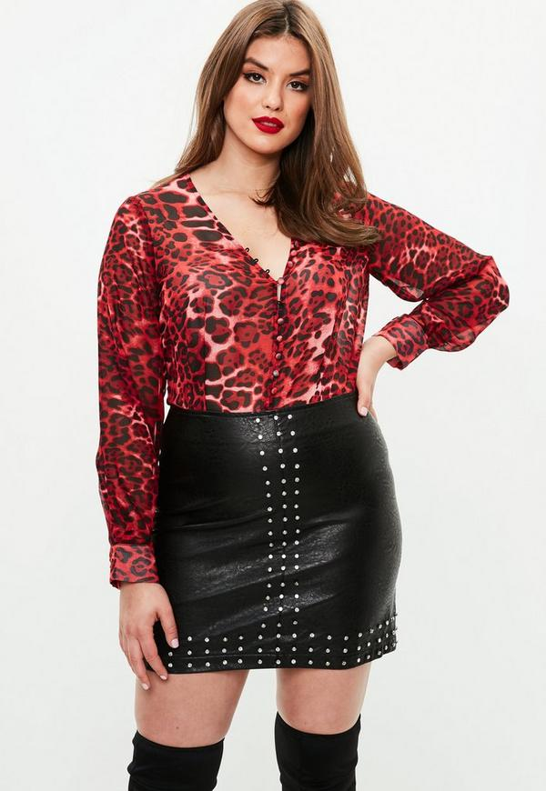 plus size black studded faux leather mini skirt missguided