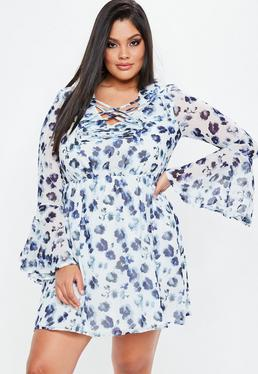 Plus Size Blue Floral Print Lace Up Dress