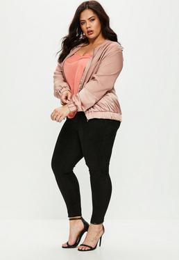 Plus Size Black Suedette Trousers