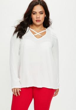 Plus Size White Cross Front Top