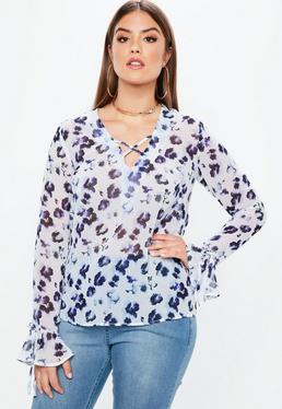 Biała bluzka z paskami na dekolcie Plus Size