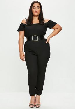 Curve Black Eyelet Detail Jumpsuit