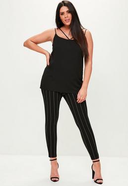 Pantalón de pinzas talla grande en negro