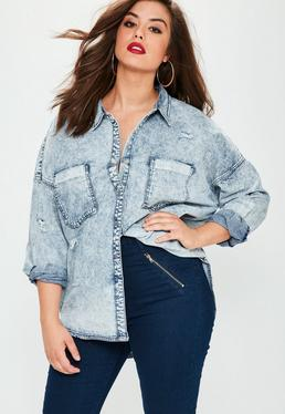 Plus Size Blue Denim Shirt