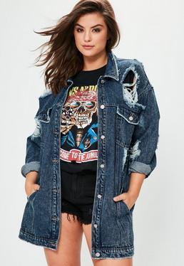Plus Size Blue Denim Trucker Jacket