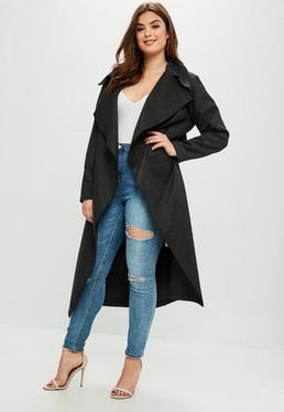 Abrigo largo talla grande en gris marengo