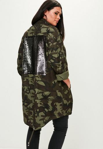 Curve Khaki Camo Sequin Back Parka Missguided