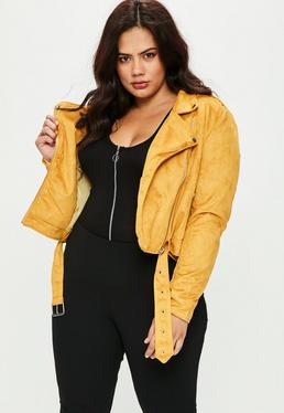 Plus Size Yellow Suedette Biker Jacket