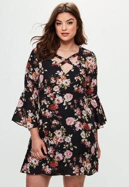 Curve Black Floral Print Dress