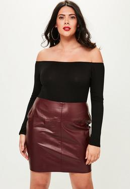 Curve Burgundy Faux Leather Mini Skirt