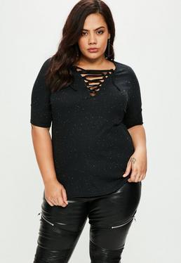 Czarny błyszczący T-shirt z wiązaniem Plus Size