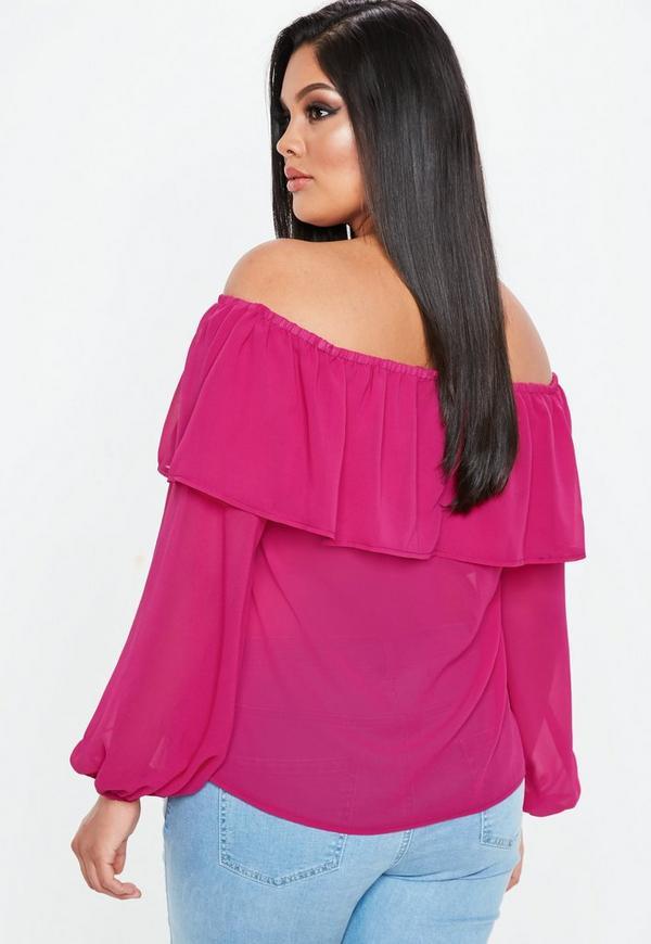 7adbac0b91cc5 Curve Pink Chiffon Frill Bardot Top