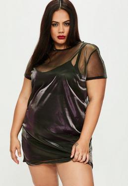 Czarna metaliczna sukienka T-shirt Plus Size