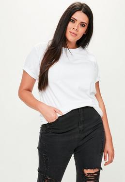 Biały boyfriendowy T-shirt plus size