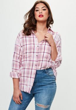 Camisa talla grande de cuadros en rosa