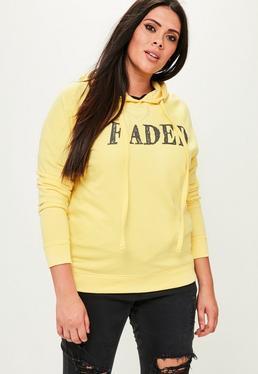 Żółta bluza z nadrukiem Plus Size
