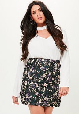Curve Black Jacquard Skirt