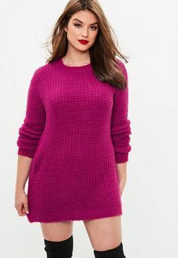 Plus Size Różowa swetrowa sukienka