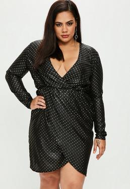Curve Black Spotted Wrap Dress