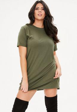 Curve Khaki Boyfriend T-Shirt Dress
