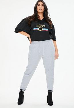 Plus Size Szare dresowa spodnie