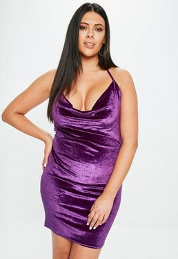 Curve Purple Velvet Cowl Dress