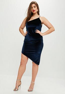 Vestido talla grande de velvetón en azul marino