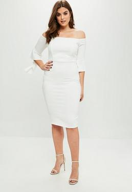 Curve White Scuba Bardot Dress