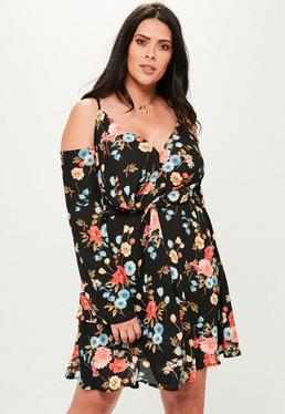 Curve Black Floral Printed Plunge Knotted Detail Dress
