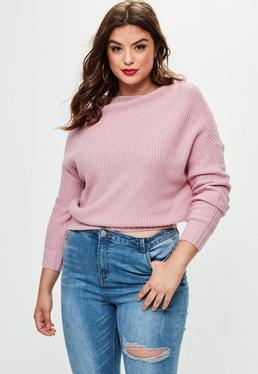 Plus Size Różowy sweter