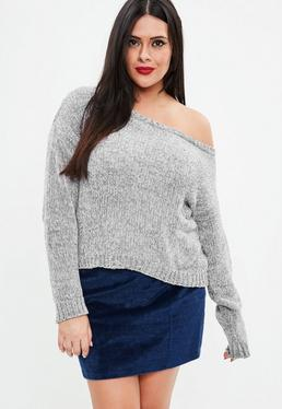 Curve Gray Off The Shoulder Luxe Sweater