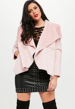Plus Size Różowa kurtka z futerkiem