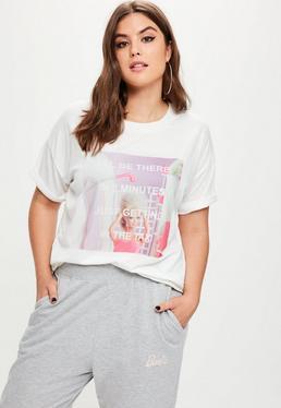 Barbie x Missguided Camiseta talla grande con mensaje en blanco