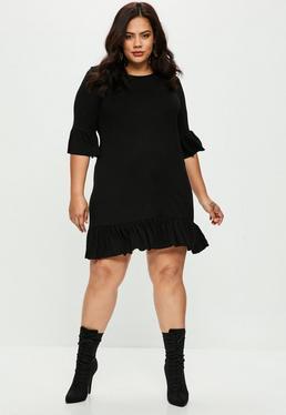 Plus Size Lockeres Kleid mit Rüschen in Schwarz