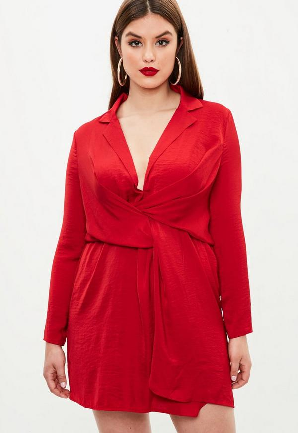 Curve Red Satin Wrap Dress | Missguided