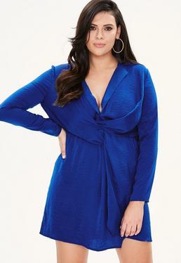 Plus Size Niebieska satynowa zawijana sukienka
