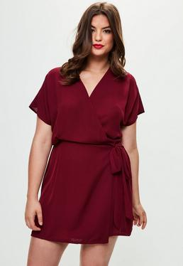Curve Red Kimono Wrap Dress