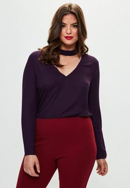 Curve Purple Choker Neck Blouse