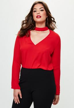 Curve Red Choker Neck Blouse
