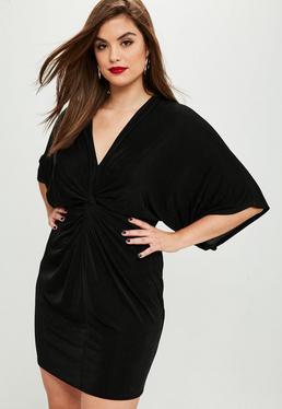 Vestido kimono talla grande brillante en negro